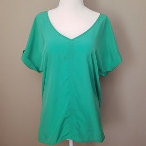 Green Short Sleeve Blouse